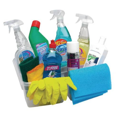 Spring Cleaning Supplies - glass cleaner, rubber gloves, cloths etc.