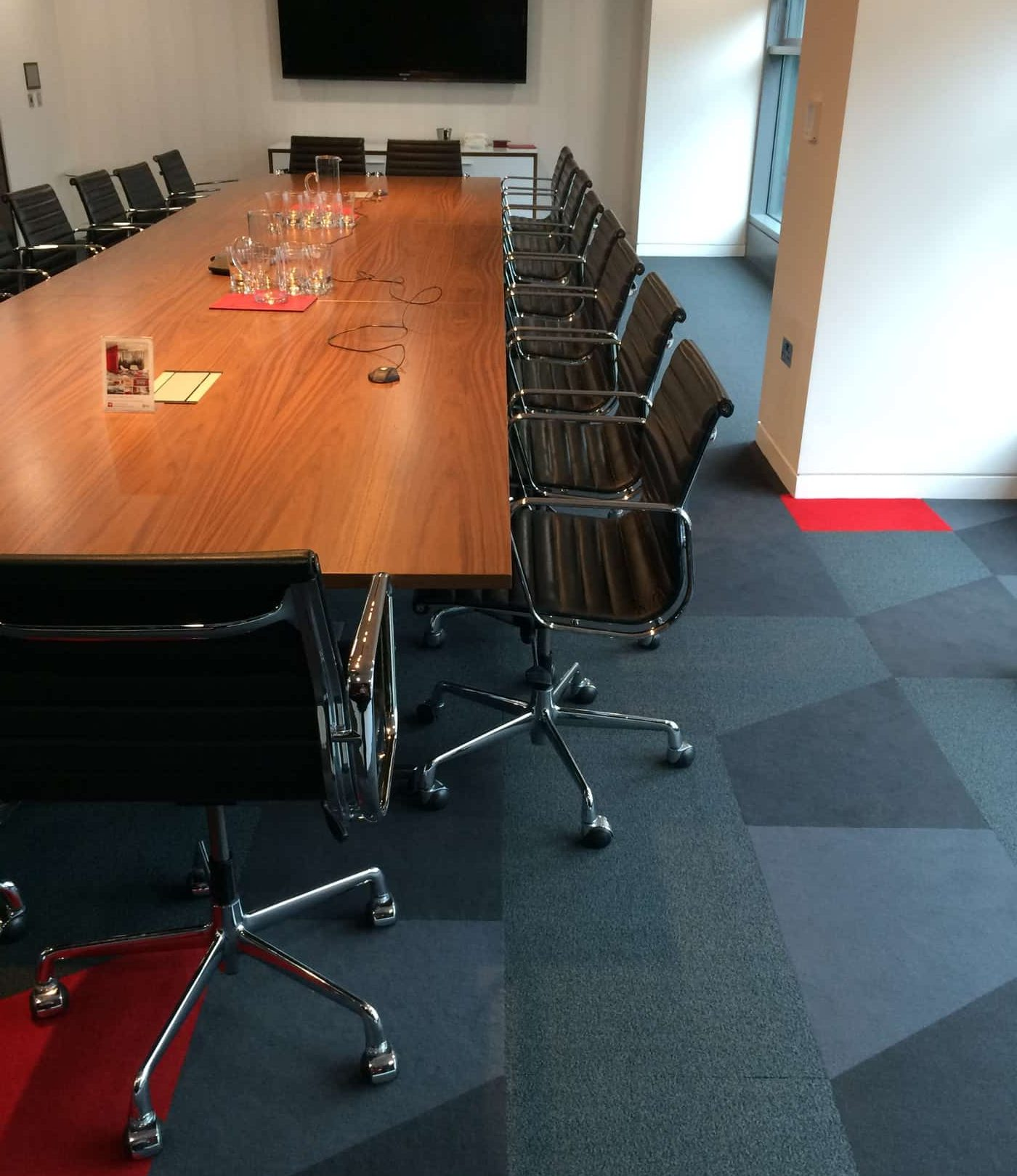 Clean and disinfect carpets in boardroom
